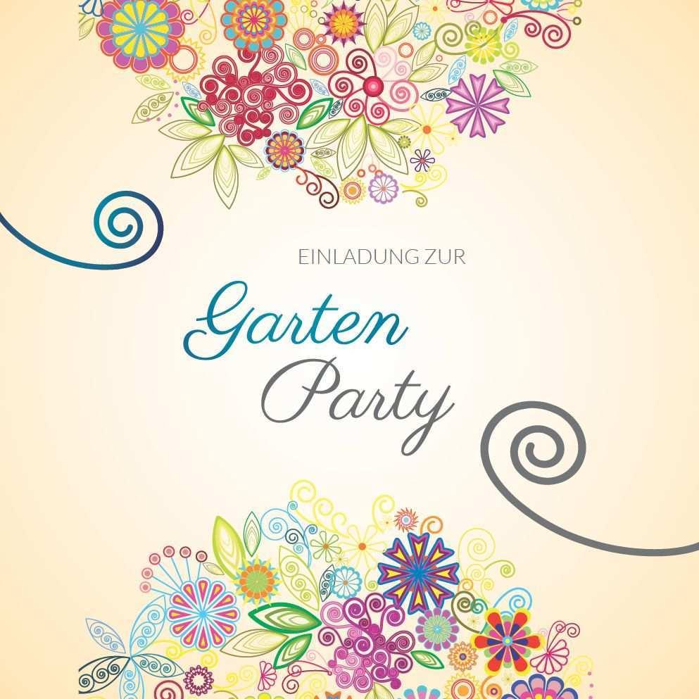 Einladung Zur Gartenparty Bunt Schone Einladungskarte Mit Blumen Zu Geburtstag Hochzeit Und Co Geburtstag Blumen Einladungen Gartenparty Einladungen