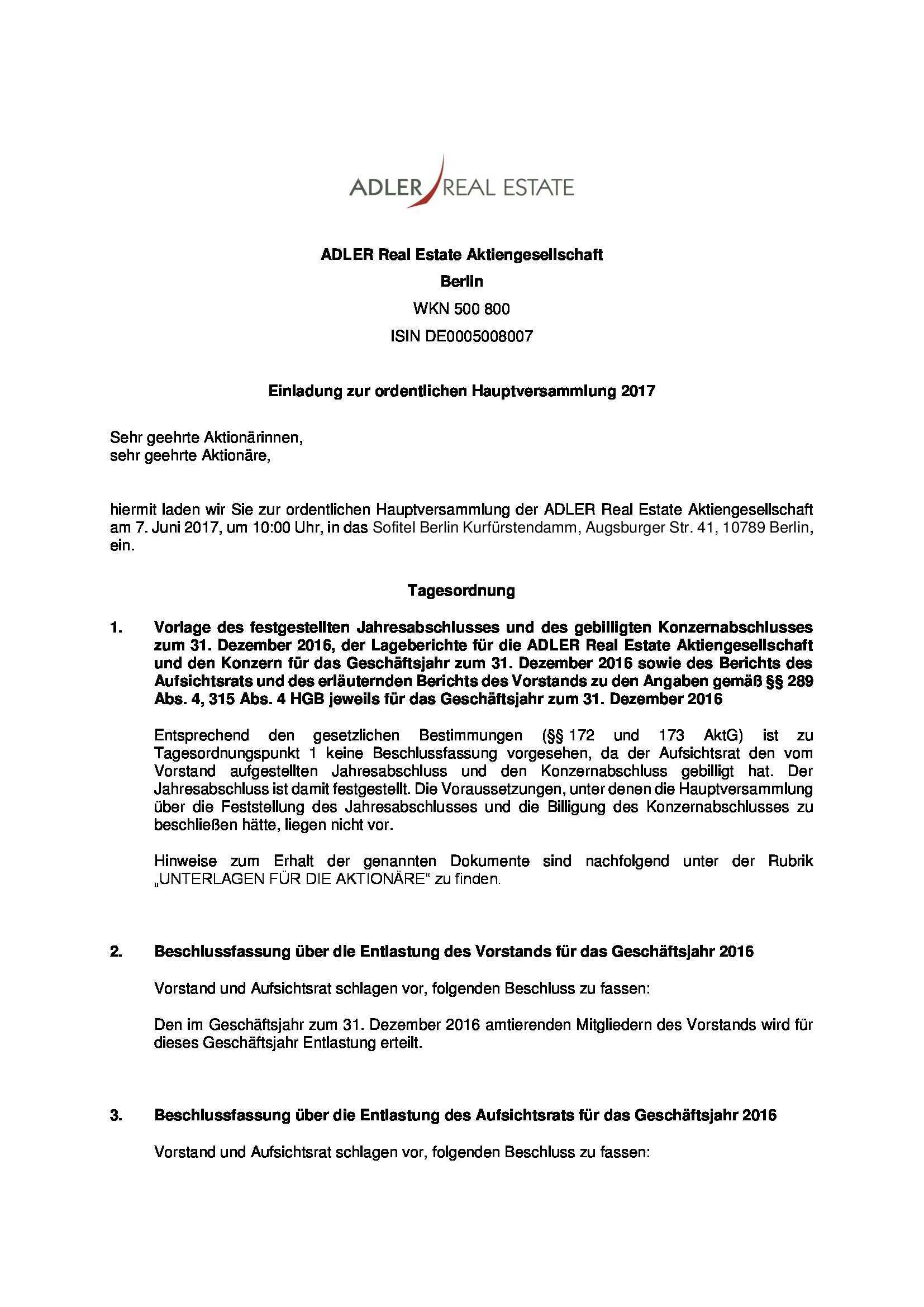 Ordentliche Hauptversammlung 2017 Adler Real Estate Ag