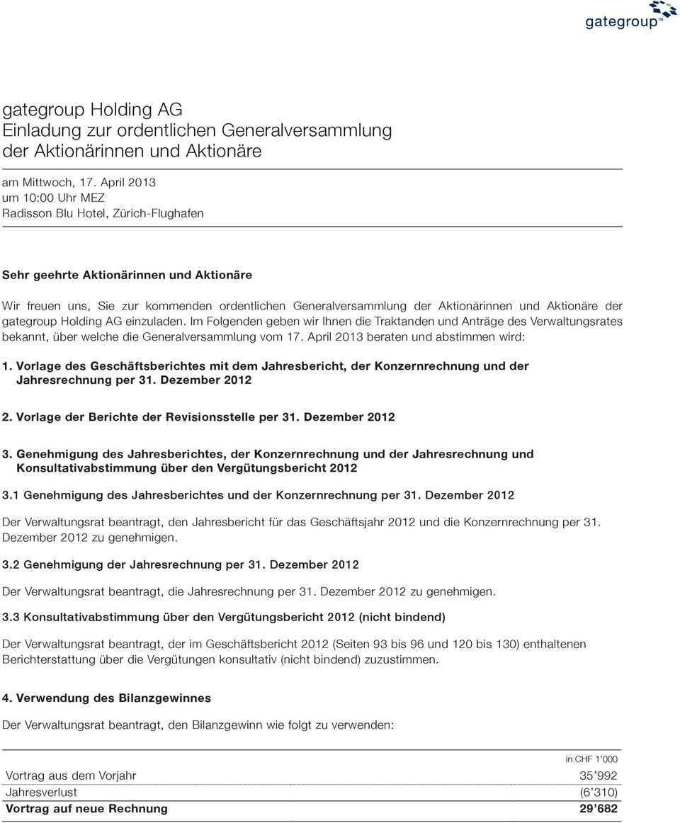 Gategroup Holding Ag Einladung Zur Ordentlichen Generalversammlung Der Aktionarinnen Und Aktionare Pdf Free Download