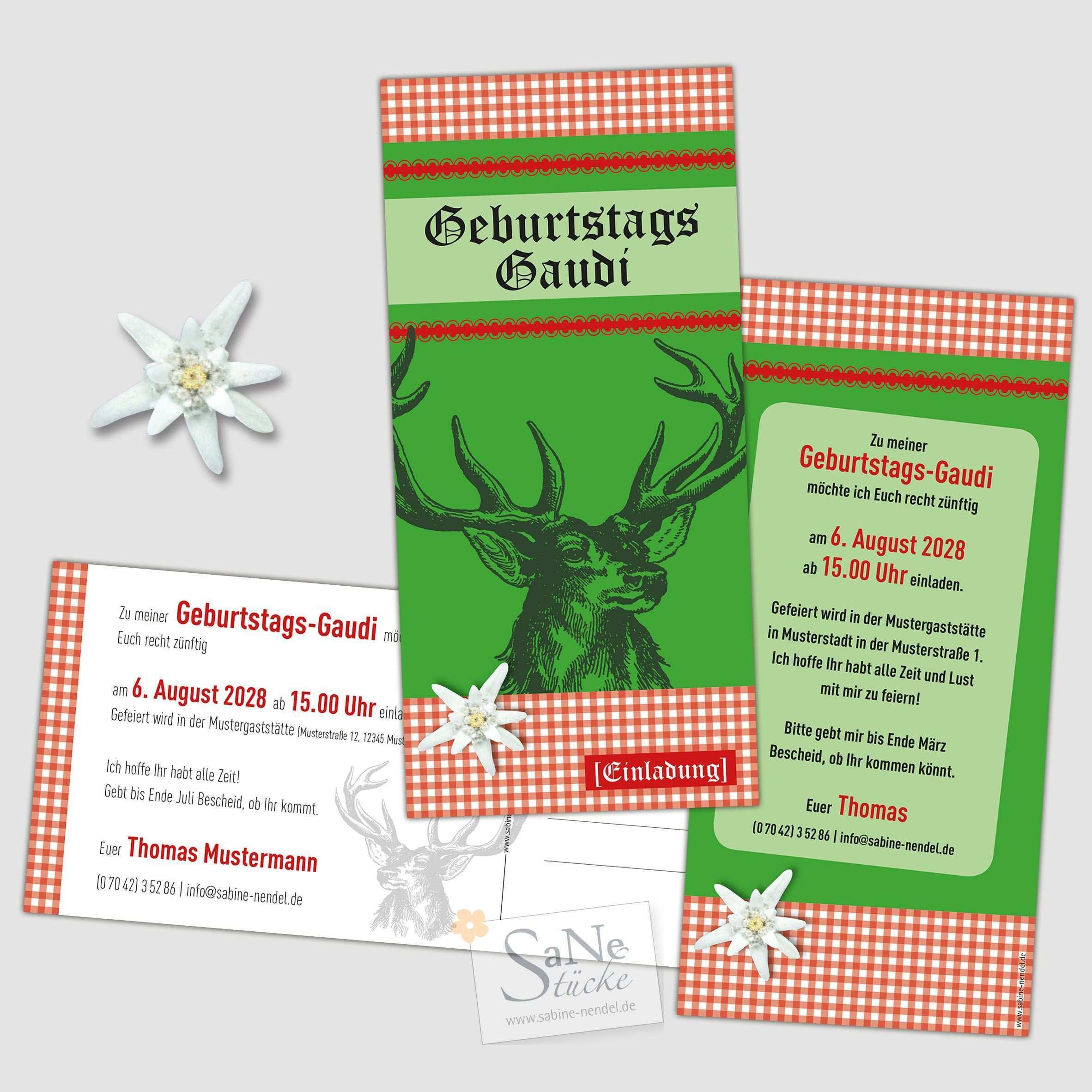 Rustikale Geburtstagseinladung Zur Huttengaudi Mit Hirsch Motiv Im Alpenstil Direkt Als Postkarte Versckickbar Oder Huttengaudi Gaudi Geburtstagseinladungen