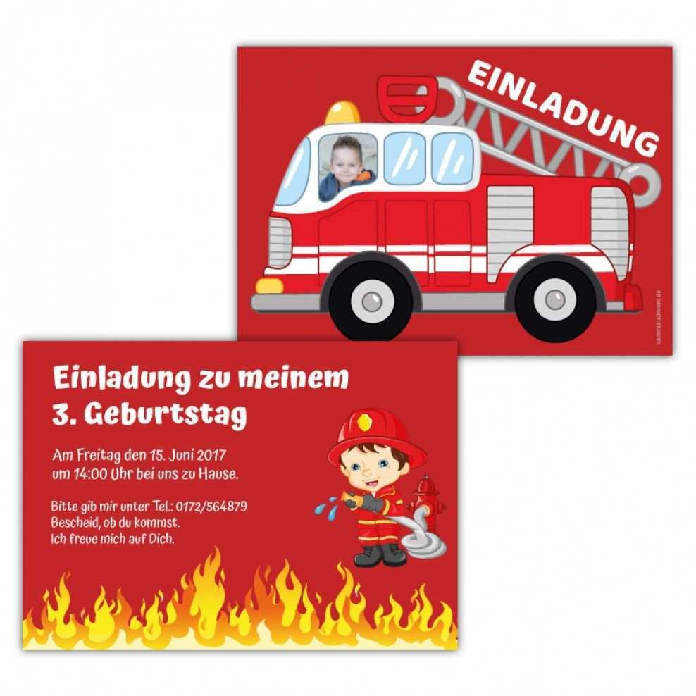 Einladungskarten Feuerwehr Mit Foto Einladungskarten Kindergeburtstag Kindergeburtstag Einladungskarten