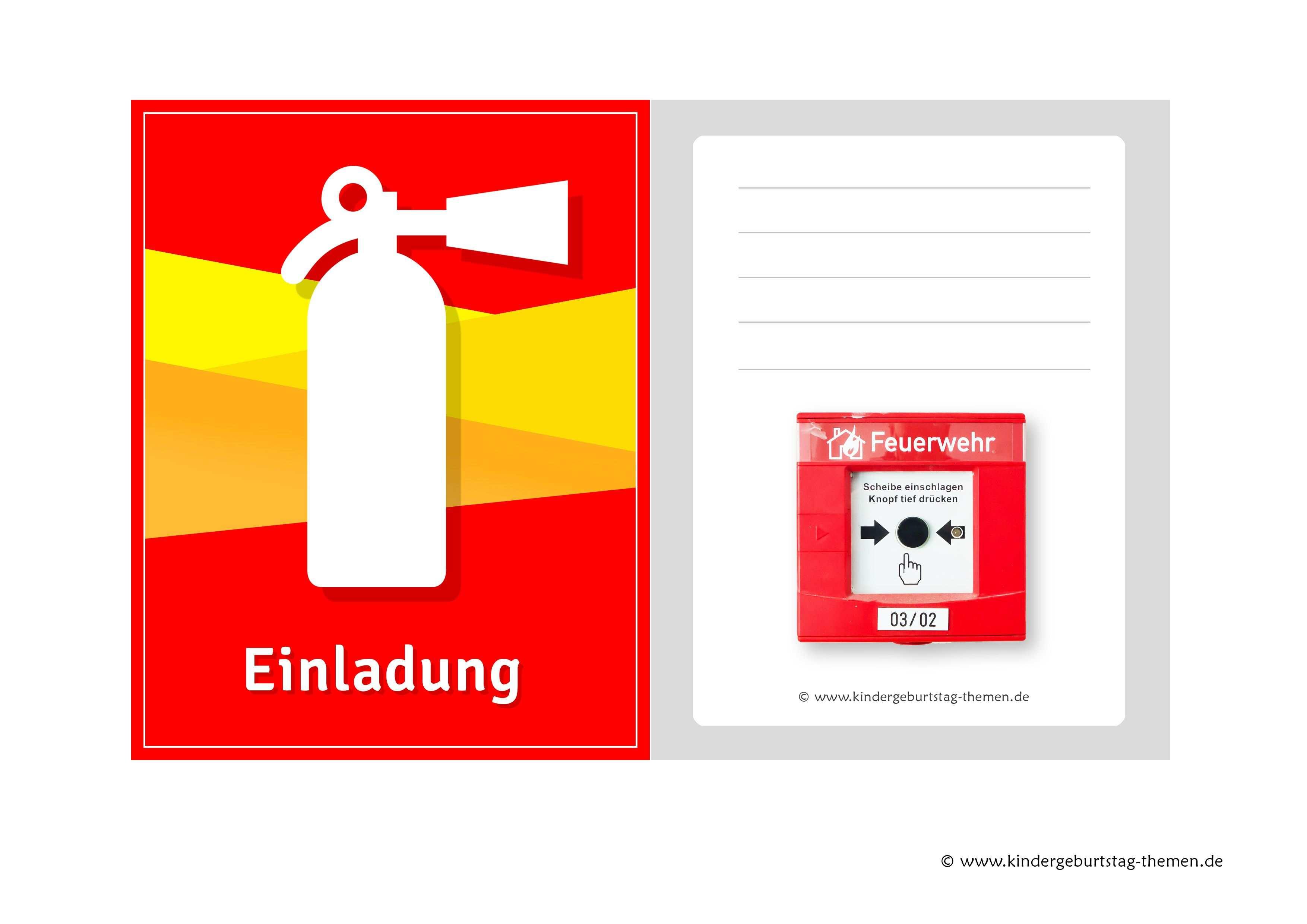 Einladungskarten Feuerwehr Zur Kinderparty Kostenlose Vorlagen Von Der Einladungen Zum Ausdrucken Einladungen Einladungskarten Selber Drucken Einladungskarten