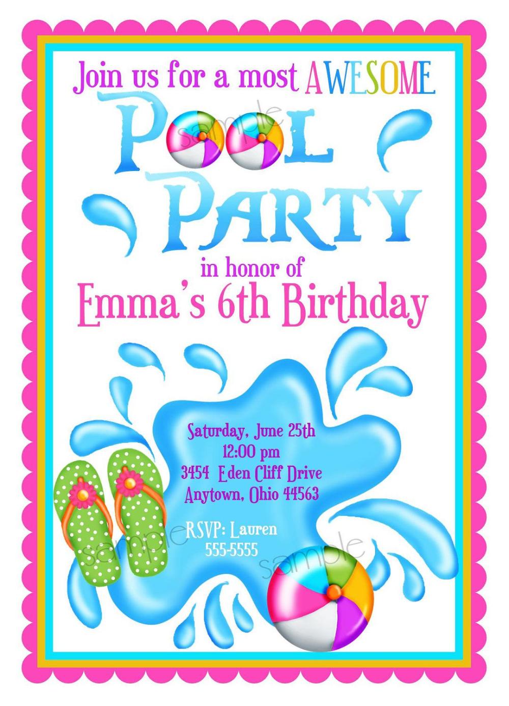Einladung Kindergeburtstag Schwimmbad Vorlagen Geburtstag Einladung Kostenlos In 2020 Pool Party Invitations Pool Party Birthday Invitations Party Invite Template