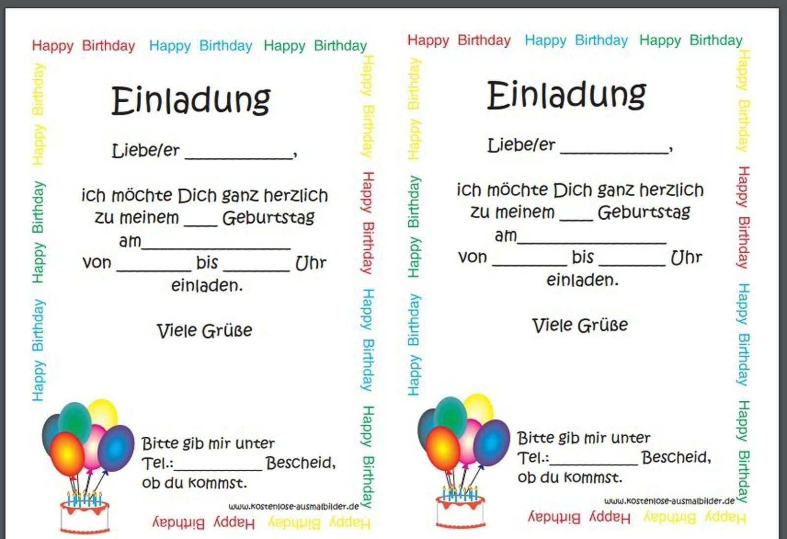 Einladungskarten Kindergeburtstag Vorlage Word