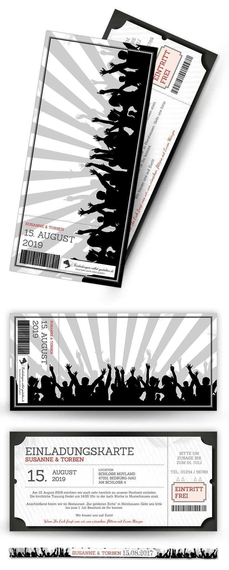 Einladungskarte Als Ticket Mit Passendem Festivalarmband Perfekt Fur Die Mottopartys Festival Einladungskarten Einladungen Ticket Vorlage