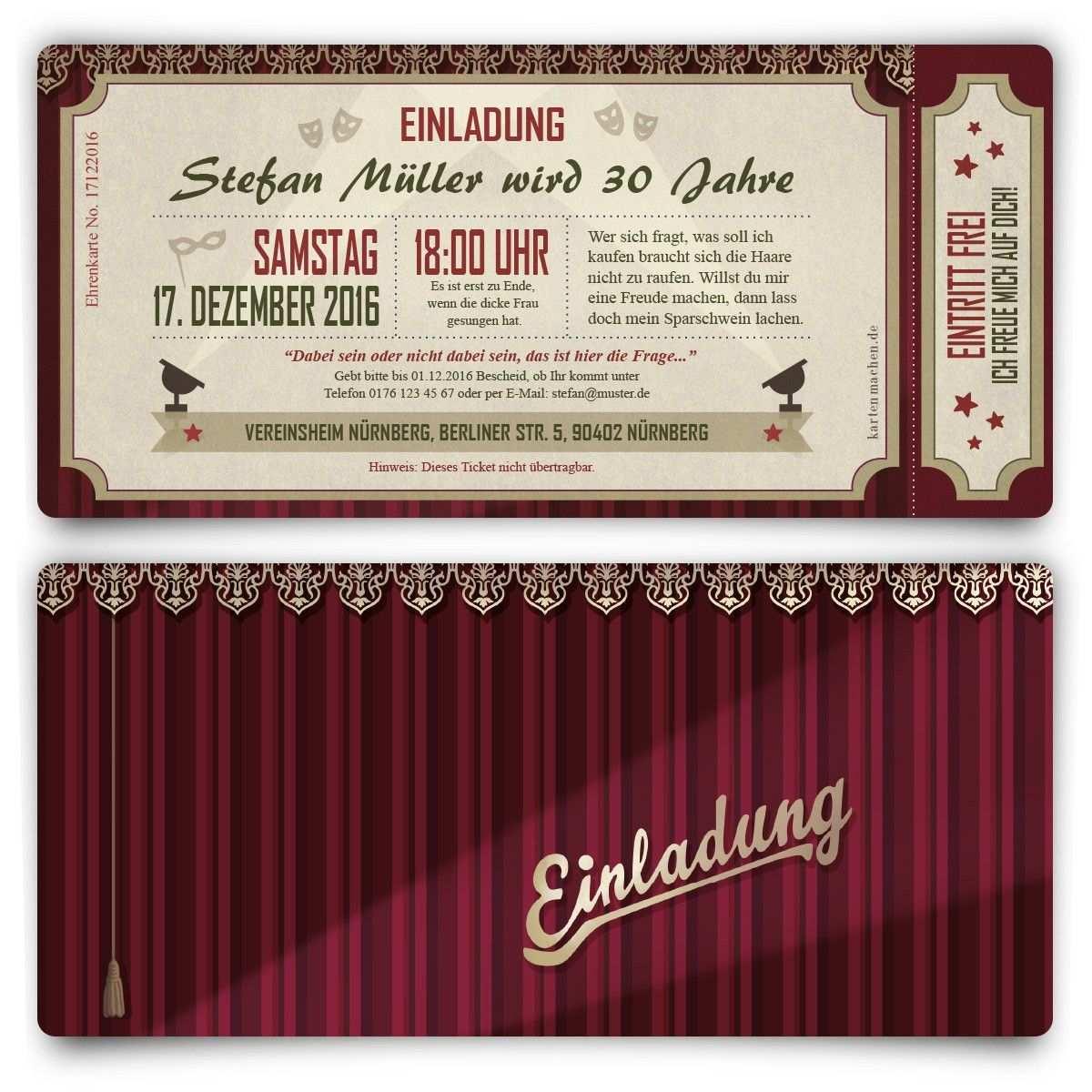Einladungen Theaterkarten Geburtstag Einladung Geburtstagseinladung Theater Theat Einladungen Einladungskarten Kindergeburtstag Einladungskarten Online