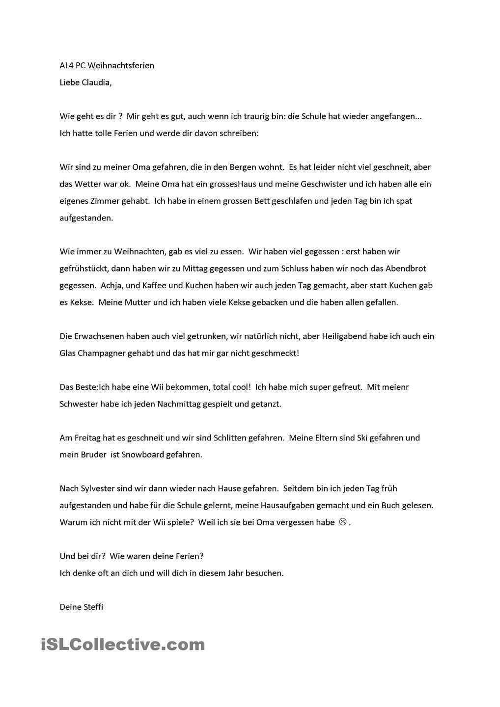 Meine Weihnachtsferien Brief Deutsch Deutsch Lernen Briefe Schreiben
