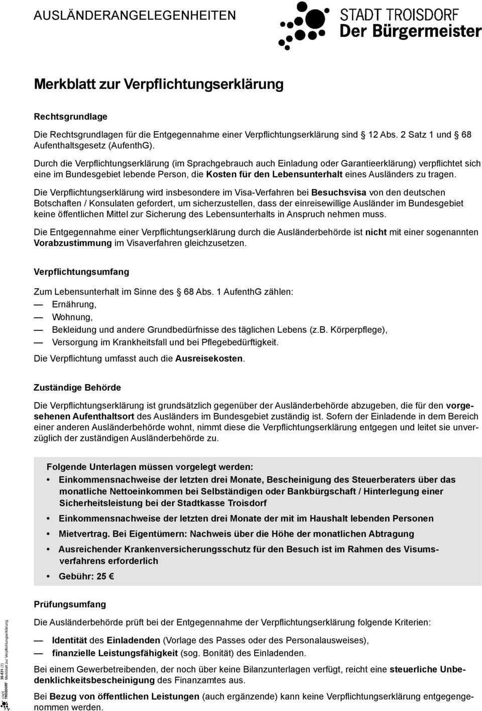 Merkblatt Zur Verpflichtungserklarung Pdf Kostenfreier Download