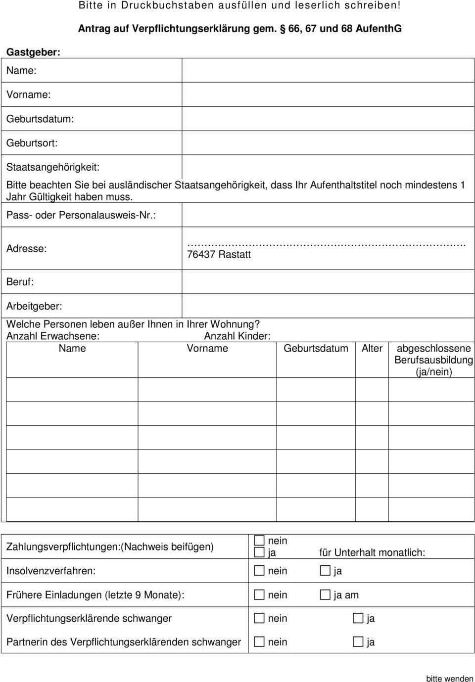 M E R K B L A T T Zur Verpflichtungserklarung Einladung Pdf Kostenfreier Download