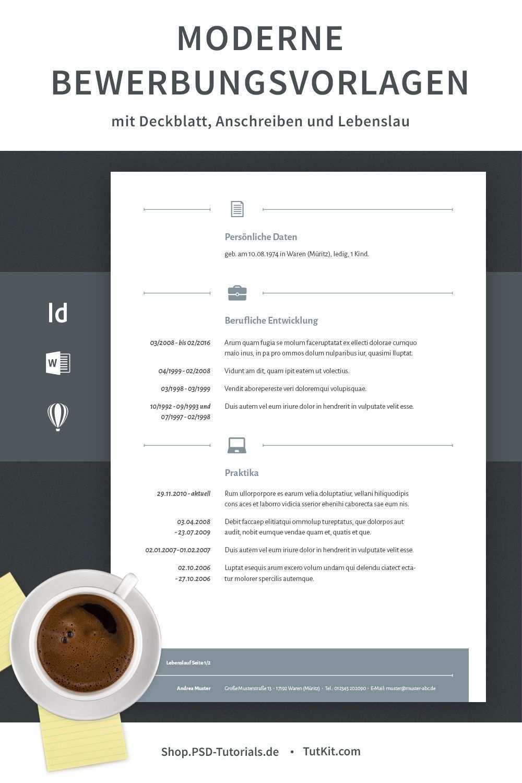Moderne Bewerbungsvorlagen Herunterladen Word Indesign Bewerbung Anschreiben Lebenslauf