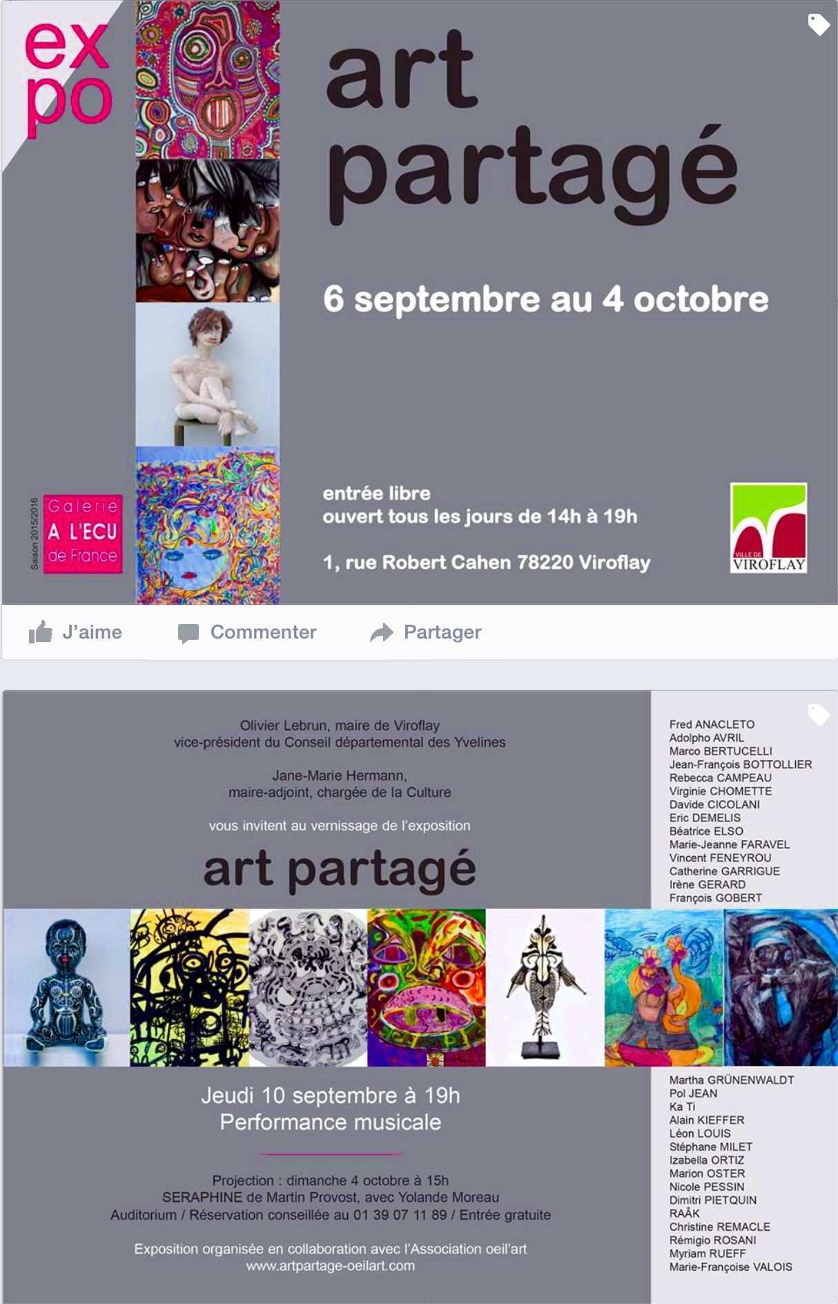 L Art Partage Est A Galerie L Ecu De France A Viroflay 78 Invitation Au Vernissage Le 10 Septembre A 19h00 En Presence Des Artistes Art Grafik Design Und Einladungen