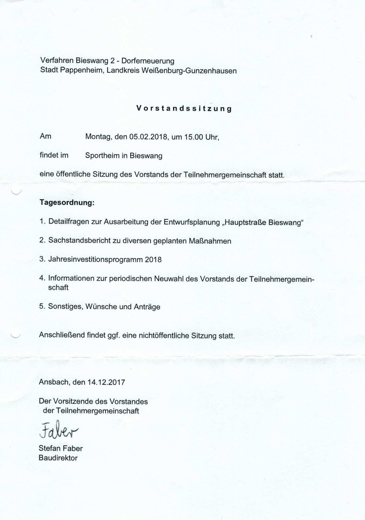 Einladung Zur Offentlichen Vorstandssitzung Der Teilnehmergemeinschaft