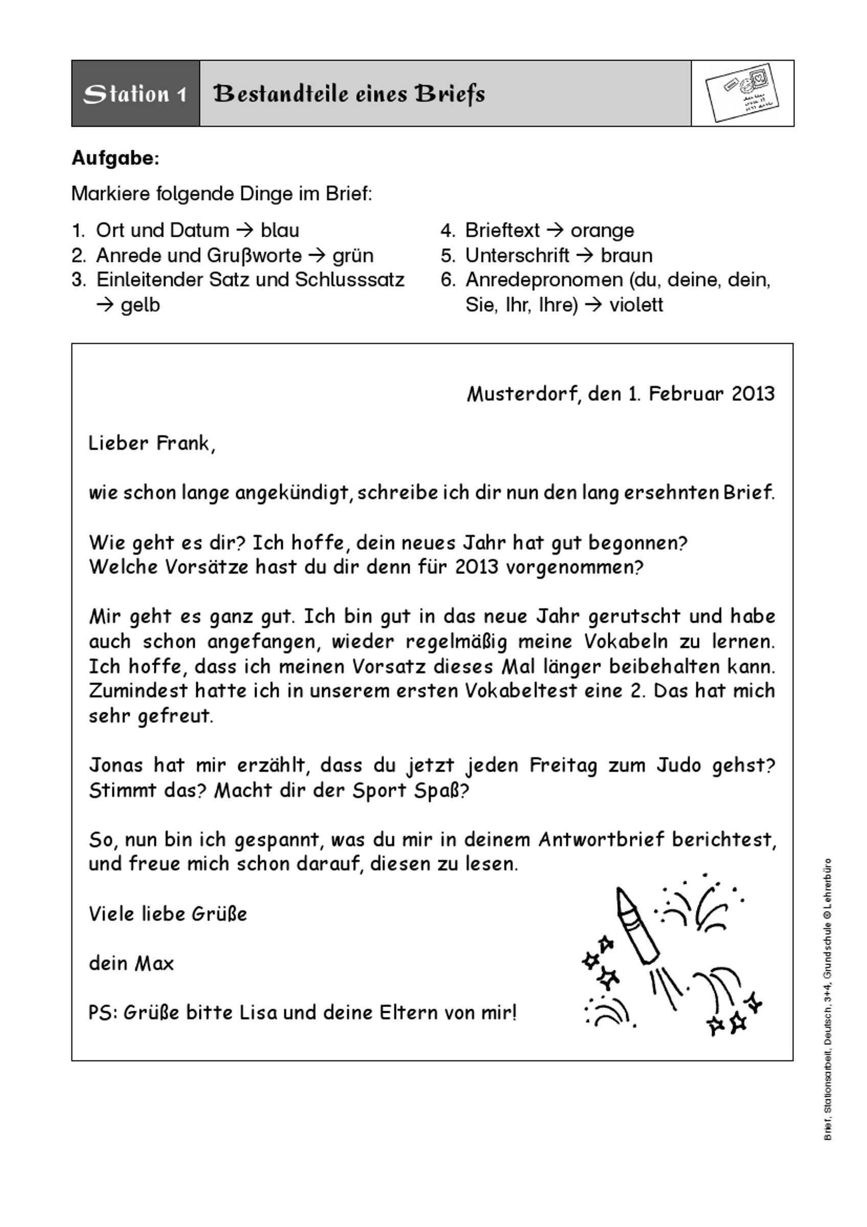 Schlusssatz Vorladung Workshop Brief Schreiben Grundschule Briefe Schreiben Brief