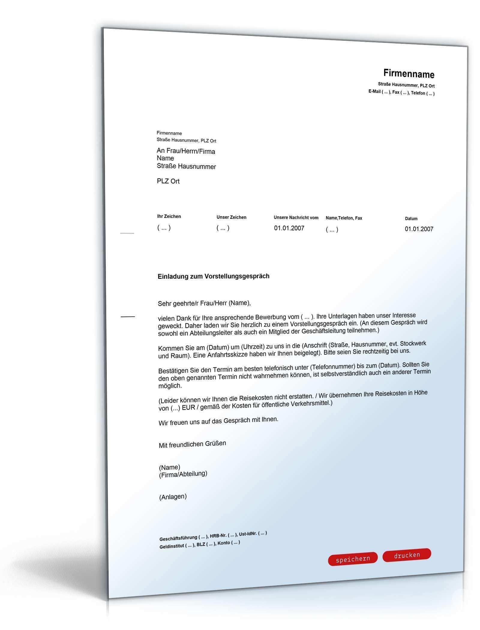 Warenmuster Vorladung Zum Vorstellungsgesprach In 2020 Document Templates Company Address Messages