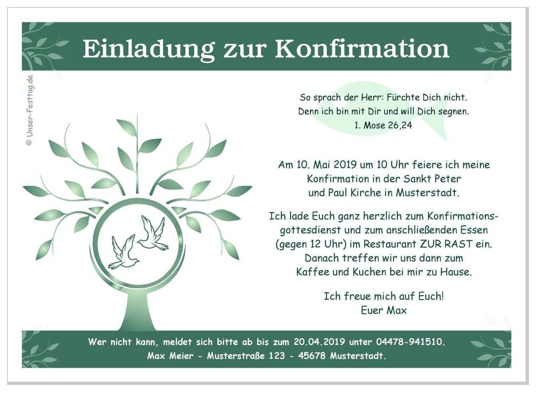 Einladung Zur Konfirmation Baum Einladung Konfirmation Konfirmation Einladungen