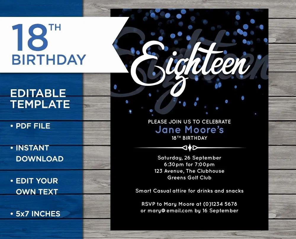 Elegant Einladung 18 Geburtstag Vorlage Einladungenkarten Design