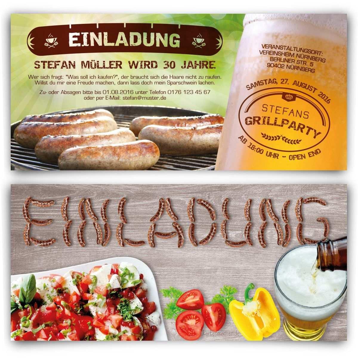 Einladungskarten Bratwurst Grillen Geburtstag Einladung Geburtstagseinladung Bratwurst Grillen Birthday Invitation Einladungen Feier Grillparty