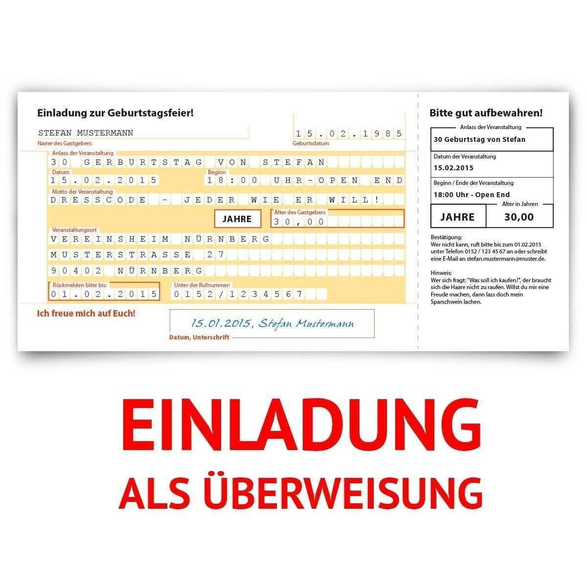 Einladungskarten Zum Geburtstag 30 Stuck Uberweisung Sepa Bank Konto Zahlung Geldsendung Witzige Einladungskarten Einladungen Einladung Geburtstag