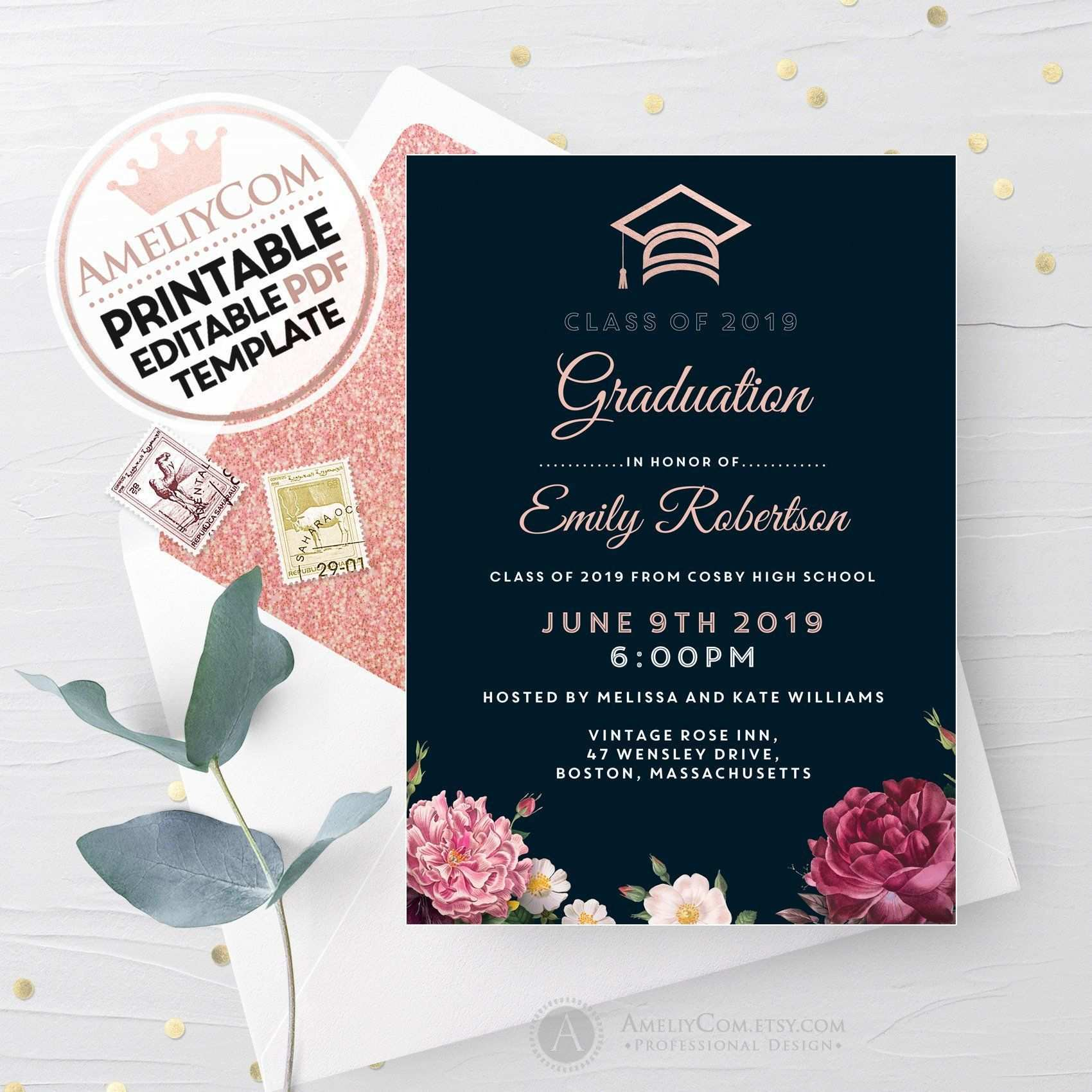 Black Graduation Invitation Printable Floral Announcement Invitation Template Girl College Einladungen Vorlagen Einladungsvorlage Einladungen