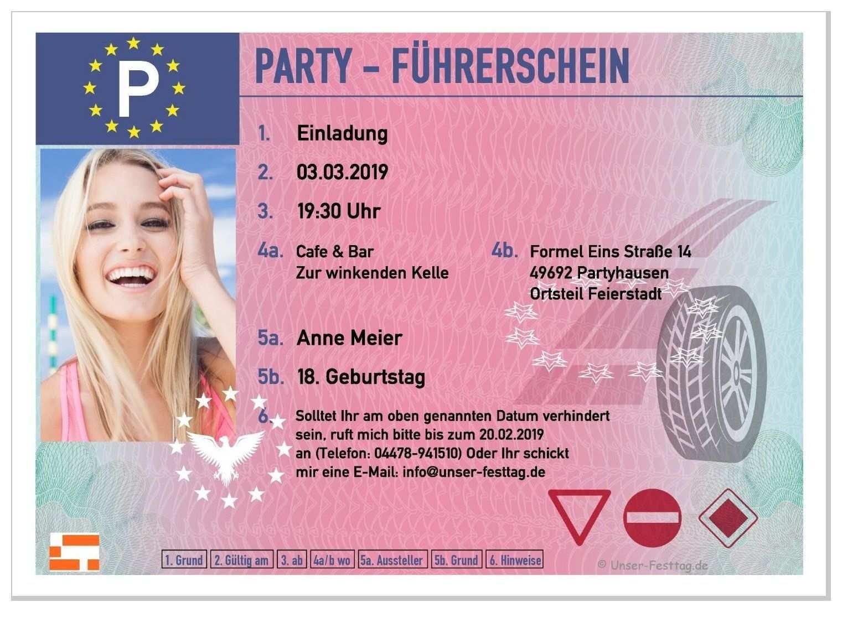 Einladungskarte Fuhrerschein Mit Foto 18 Geburtstag Einladungen Einladung Geburtstag