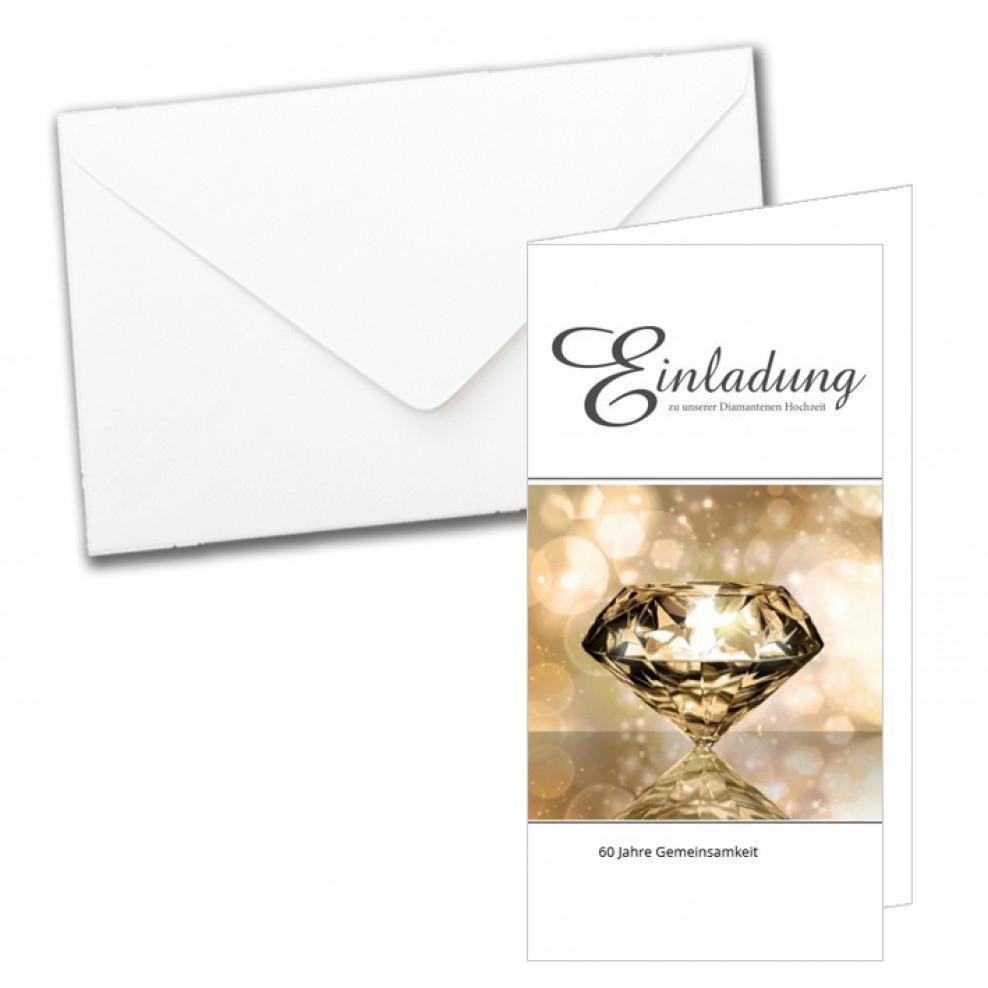 Edle Einladungskarte Zur Diamantenen Hochzeit Einladungskarten Diamantene Hochzeit Text