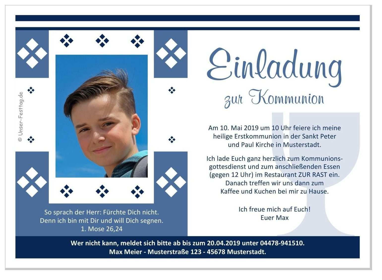 Einladung Zur Kommunion Motiv Raute Einladung Kommunion Kommunion Einladung Kommunion Text
