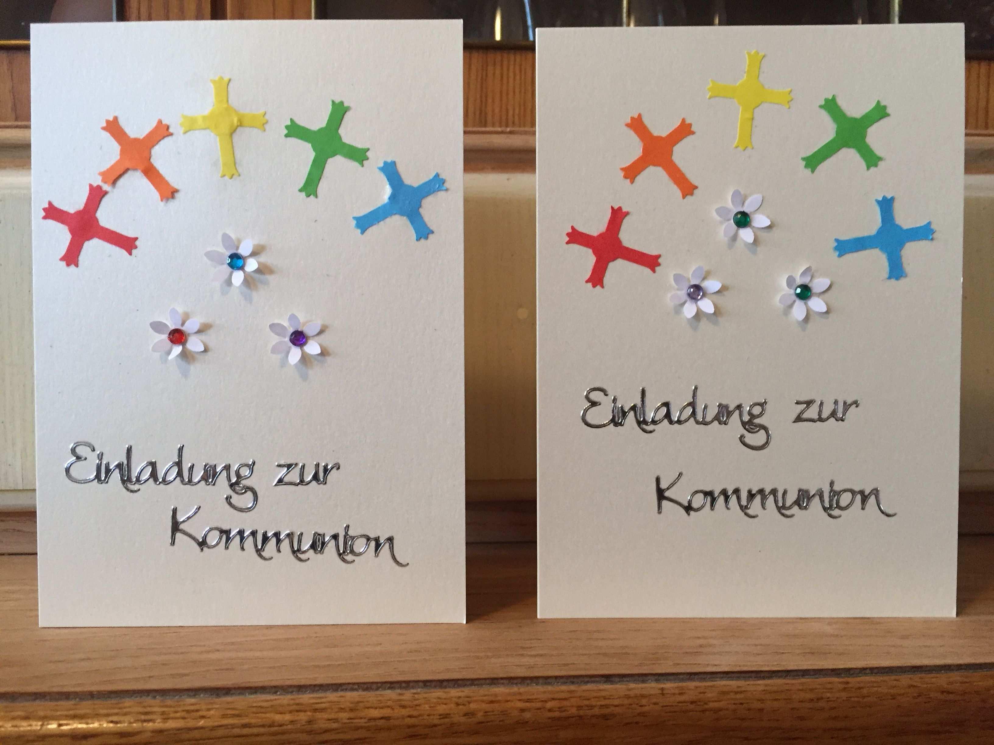 Einladungskarten Zur Erstkommunion Stanzer Von Buttinette Und Rahyer Schriftzug Von Rayher Geburtstagskarten Gestalten Einladung Weihnachtsfeier Einladungen
