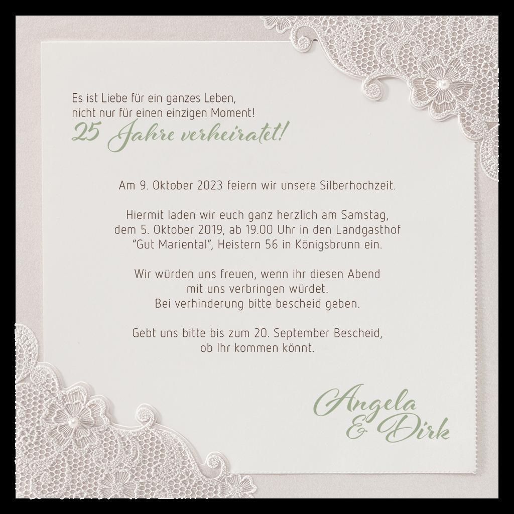 Exclusive Einladungskarte Silberhochzeit Einladung Silberhochzeit Einladung Hochzeit Text