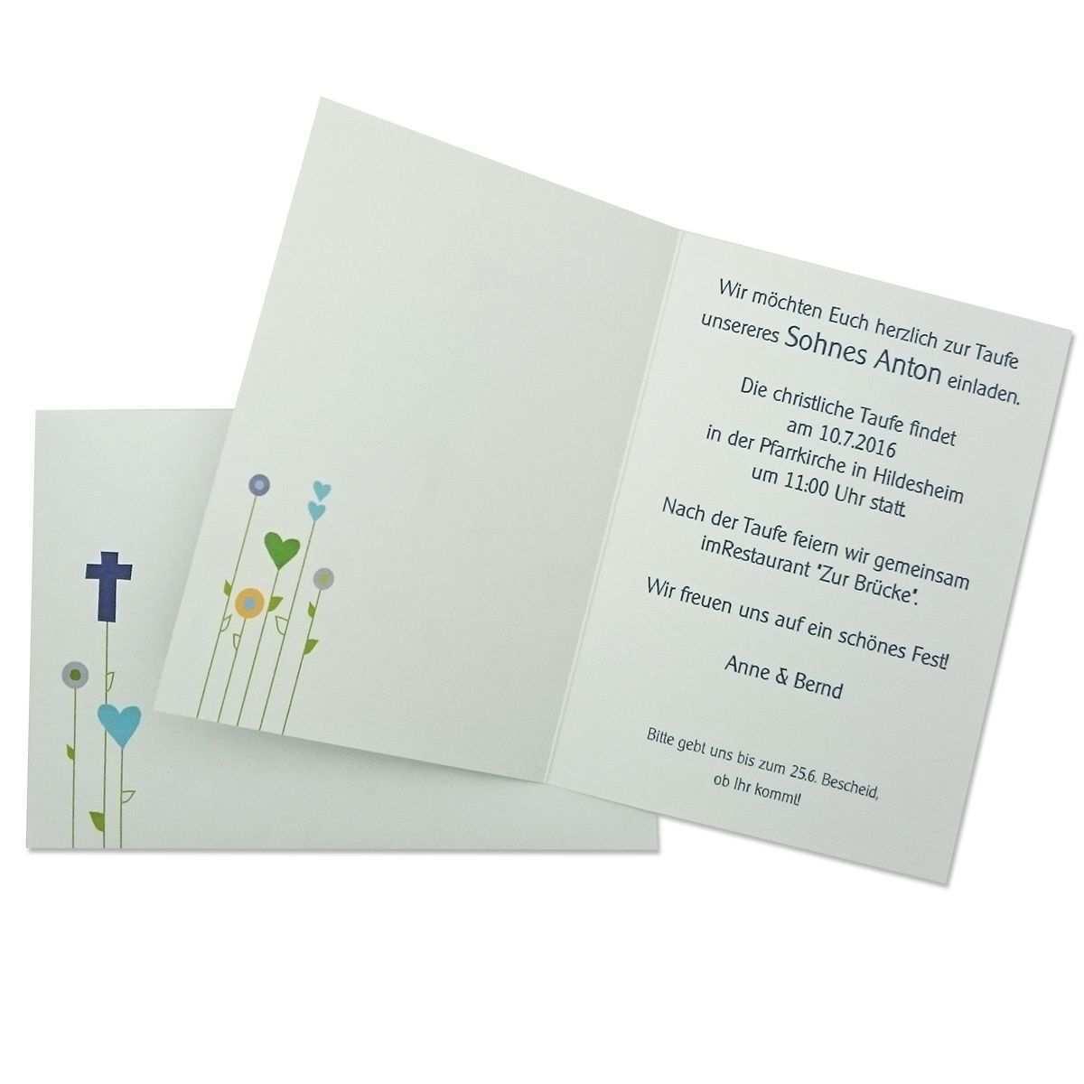 Einladungskarte Zur Taufe Kommunion Konfirmation Motiv Blumenwiese Von Mypaperset Einladung Kommunion Text Einladungen Einladungskarten