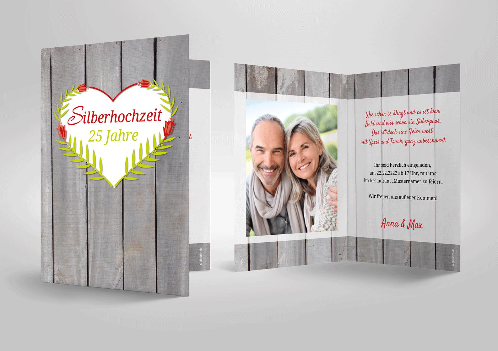 Aussergewohnliche Einladung Zur Silberhochzeit Herz Auf Holz Sehr Modern Einladungskarten Silberhochzeit Silberhochzeit Einladungskarten