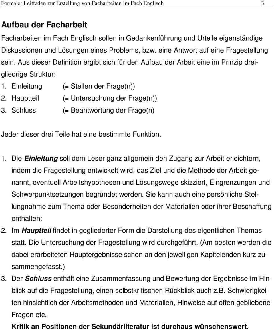 Formaler Leitfaden Fur Die Facharbeit Im Fach Englisch Pdf Free Download