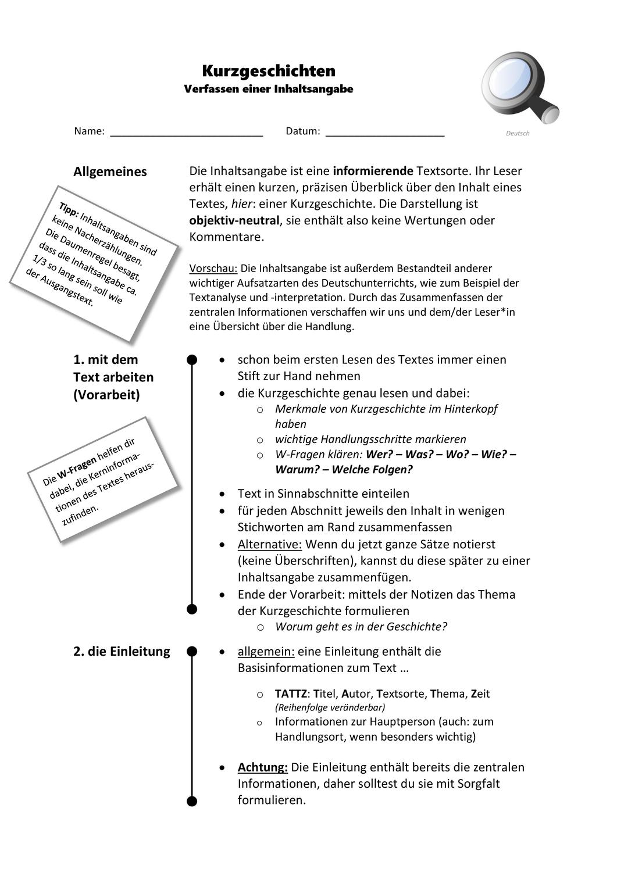Inhaltsangabe Leitfaden Kurzgeschichten Word Pdf Mit Tipps Und Formulierungshilfen Lernen Tipps Schule Deutsch Nachhilfe Lernen