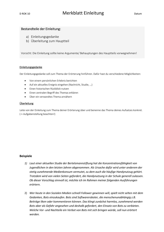 Merkblatt Einleitung Erorterung Mit Beispielen Unterrichtsmaterial In Den Fachern Deutsch Fachubergreifendes Einleitung Merken Erorterung