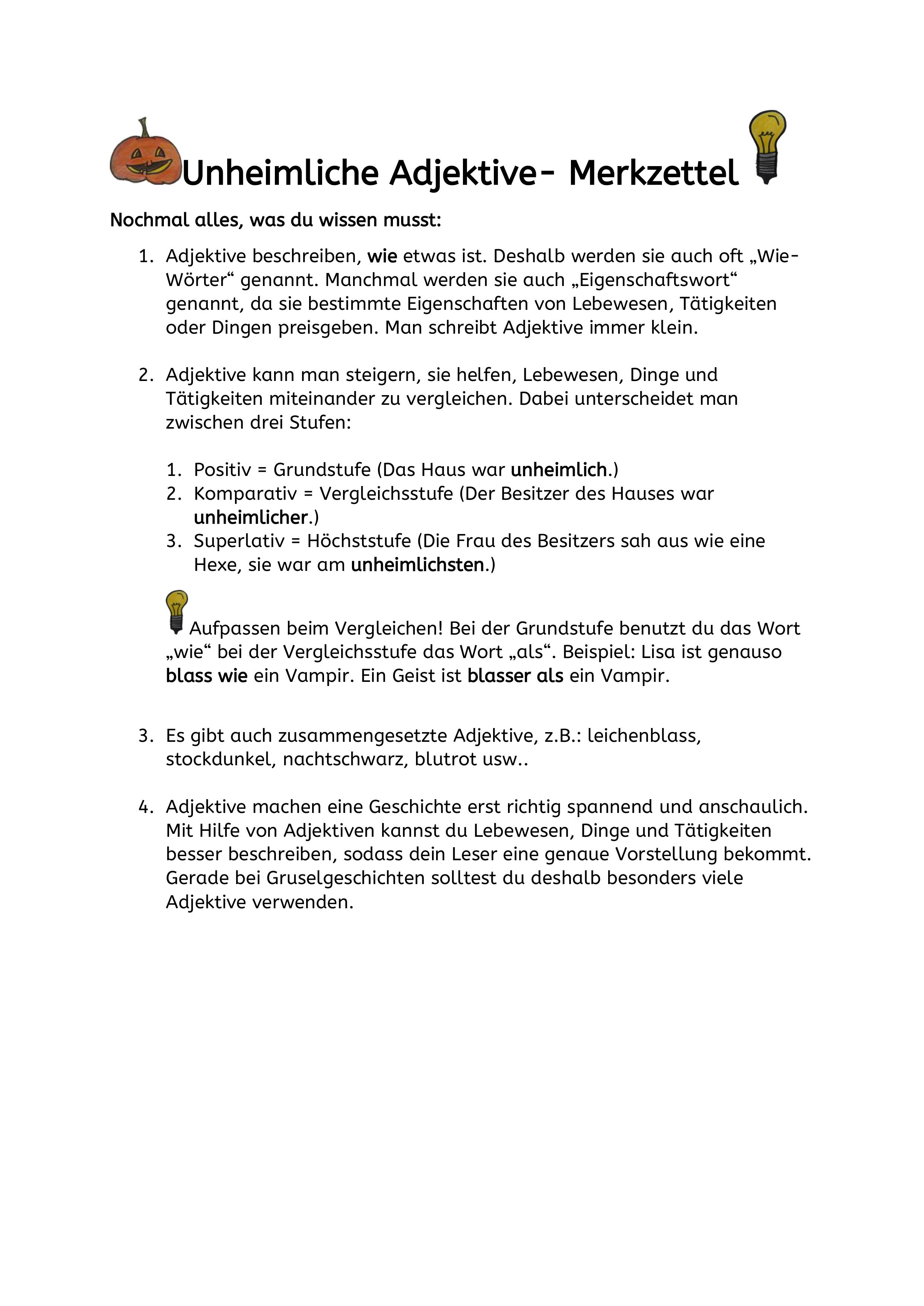 Unheimliche Adjektive Adjektive Eigenschaftsworter Deutsch Unterricht