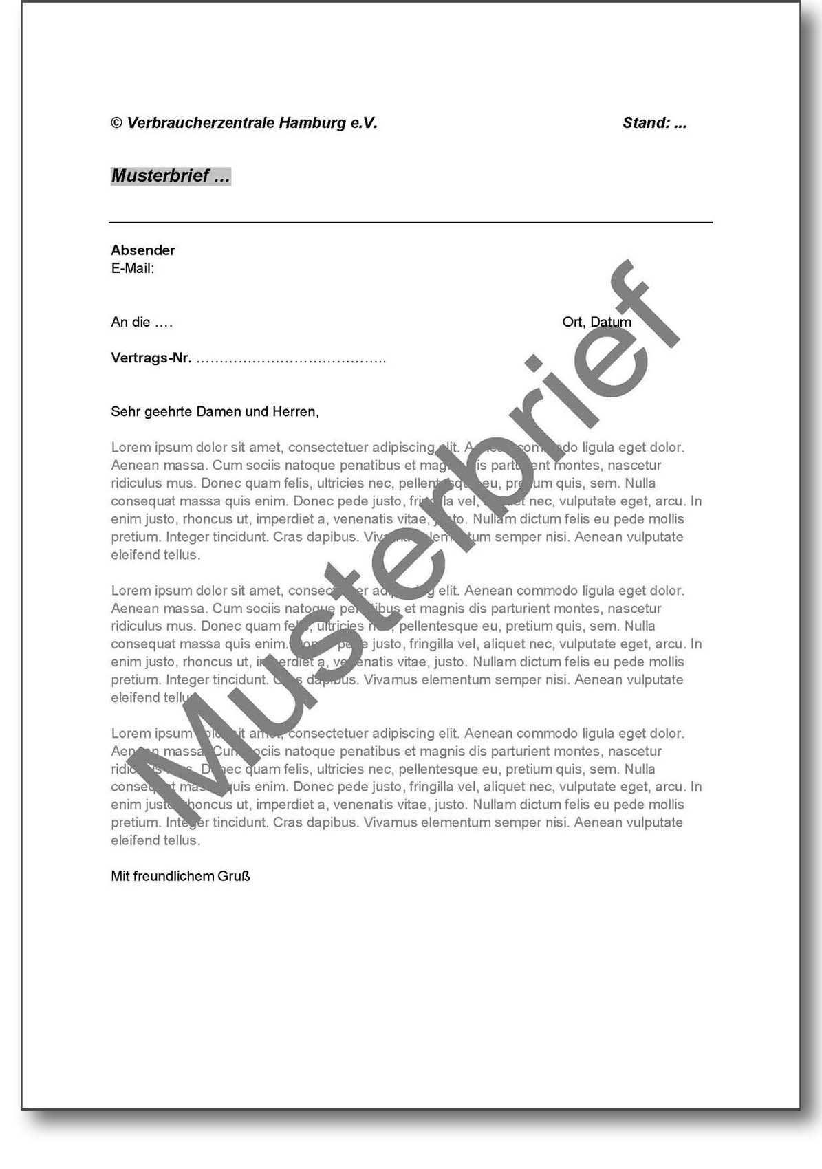 Musterbrief Verzicht Auf Einrede Der Verjahrung Bei Fahrzeugkauf Verbraucherzentrale