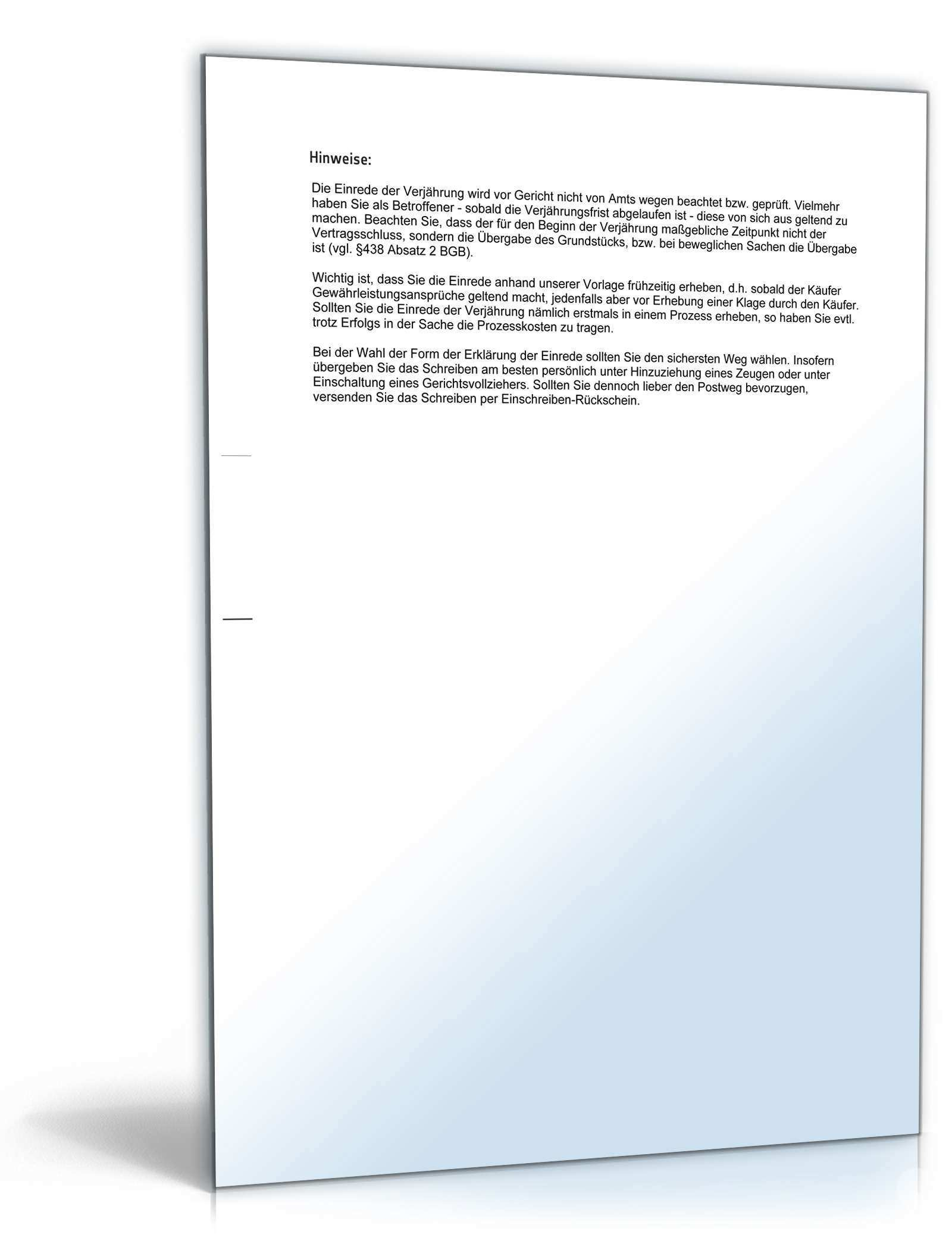 Einrede Der Verjahrung Grundstuckskauf Muster Vorlage Zum Download