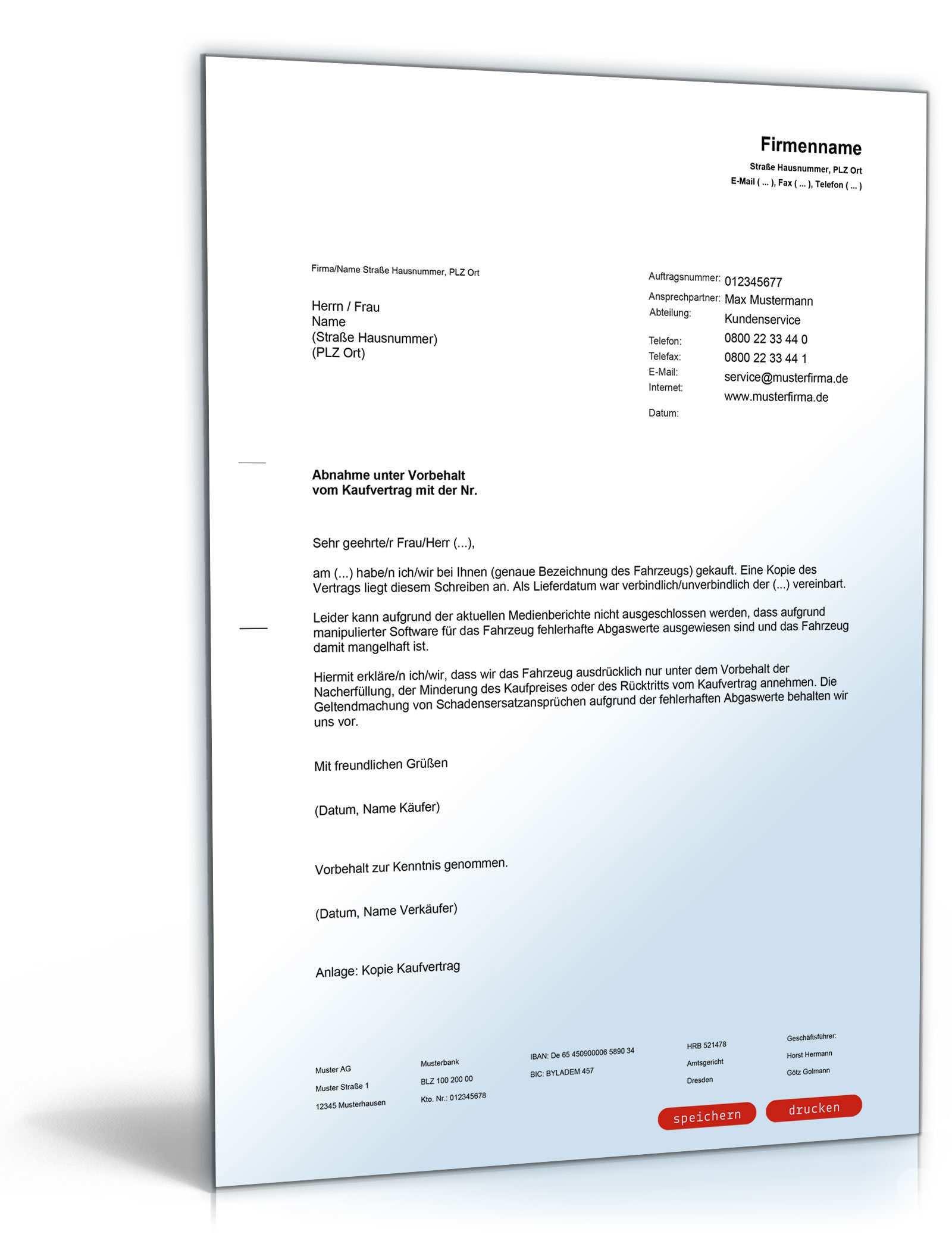 Verzicht Auf Einrede Der Verjahrung Bei Pkw Mit Manipulierter Software De Musterbrief Download
