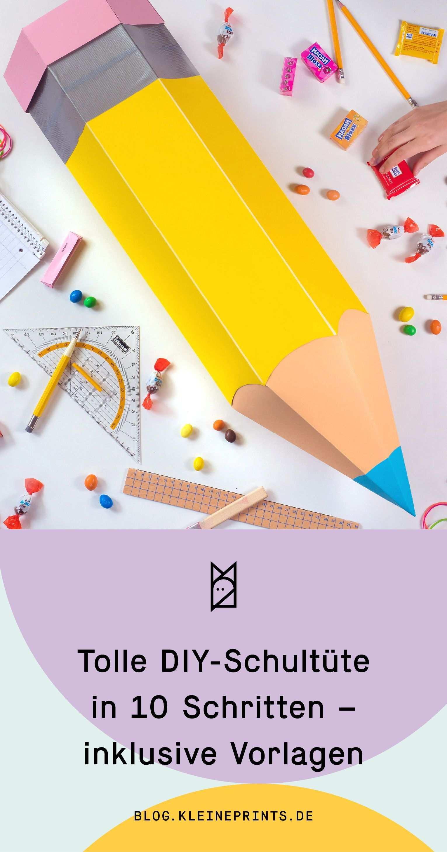Tolle Diy Schultute Selber Basteln Inklusive Vorlagen Schultute Selber Basteln Schultute Basteln Anleitung Diy Schule