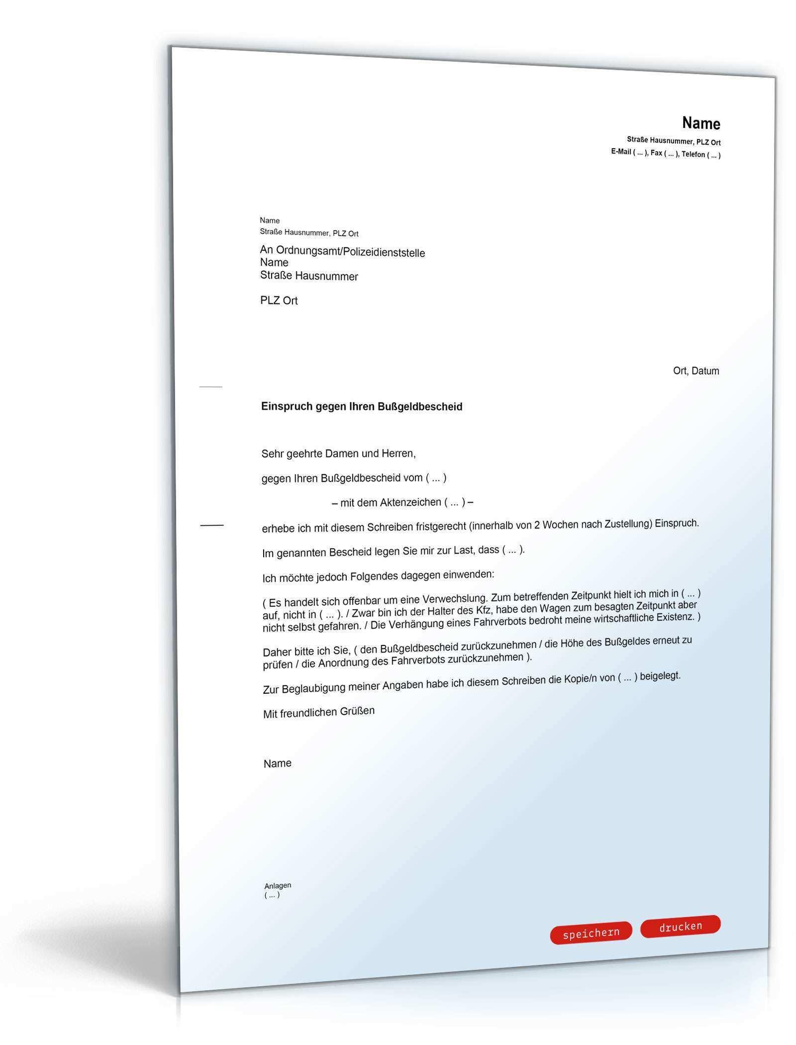 Einspruch Gegen Bussgeldbescheid Muster Vorlage Zum Download