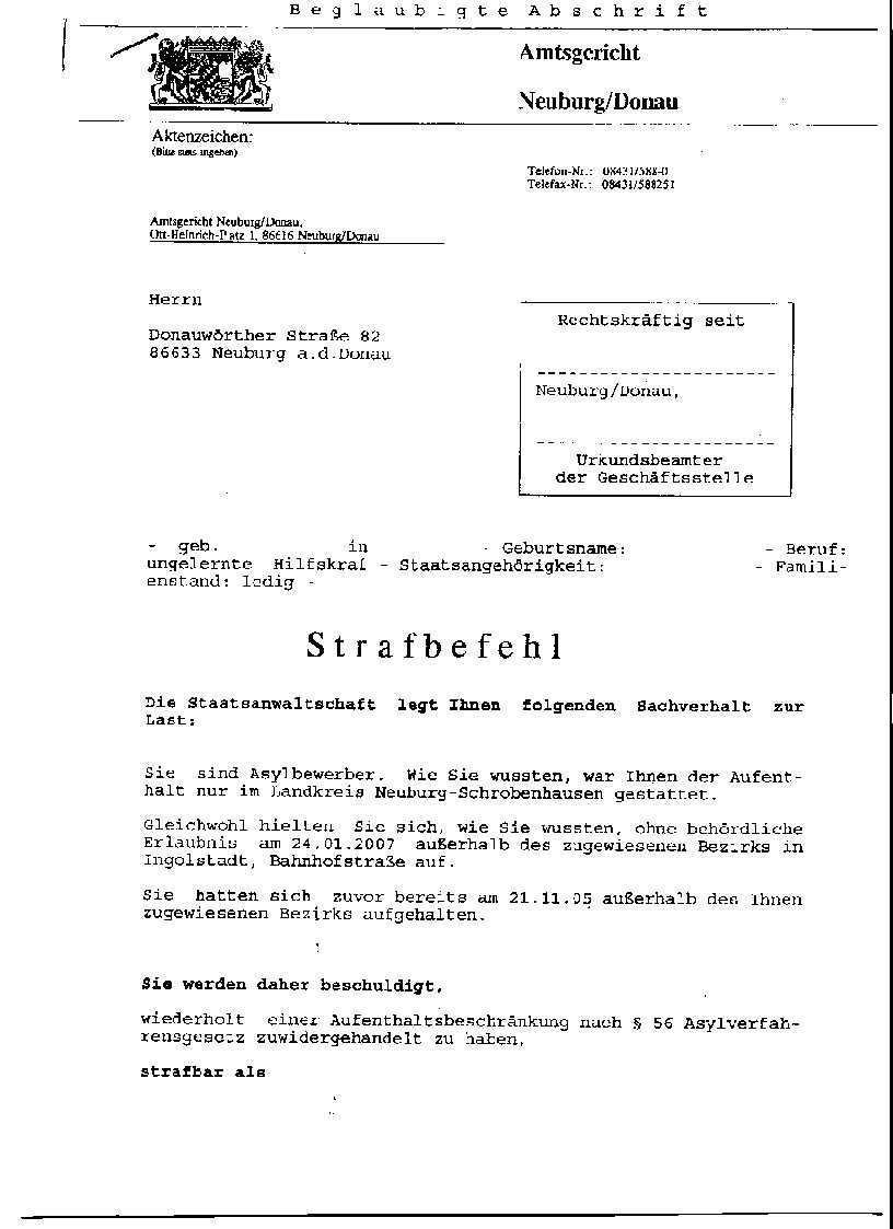 Verurteilungen Residenzpflicht Info
