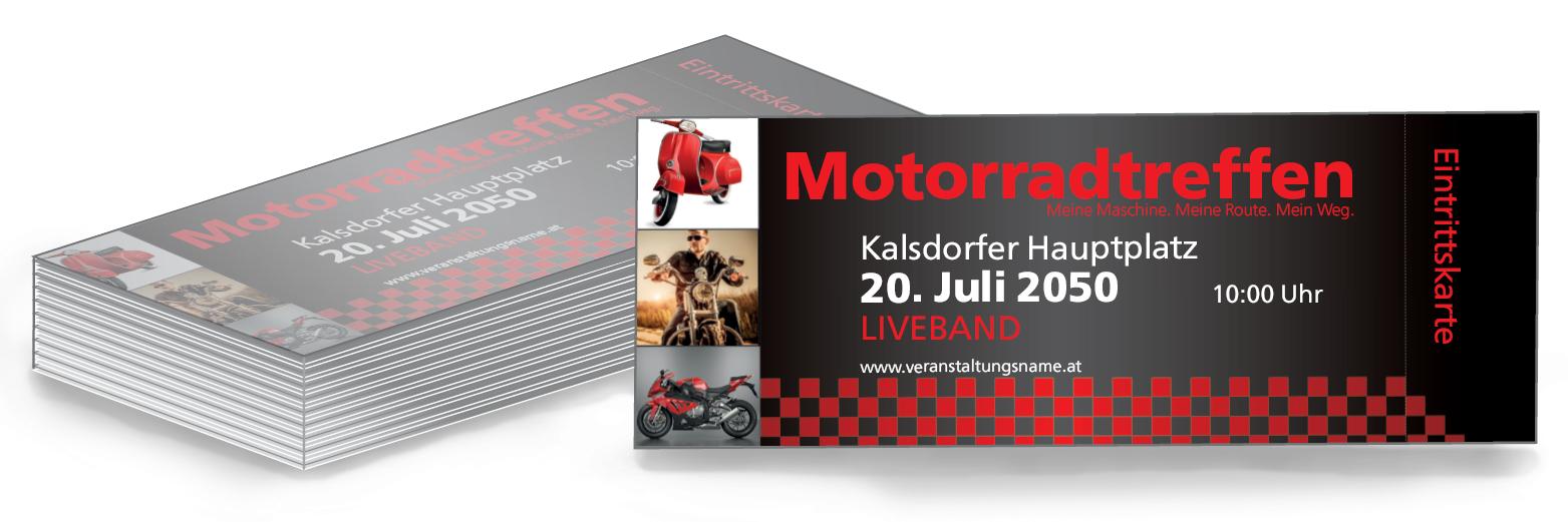 Generiere Deinen Eigenes Eintrittskartendesign Mit Einer Der Zahlreichen Vorlagen Von Onlineprintxxl Vorlage Eintrit Eintrittskarten Karten Motorrad Treffen