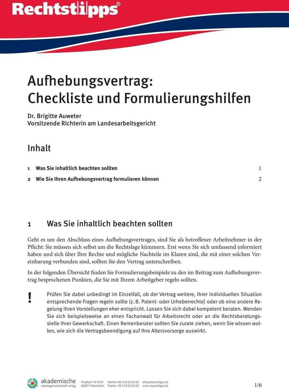 Aufhebungsvertrag Checkliste Und Formulierungshilfen Pdf Free Download