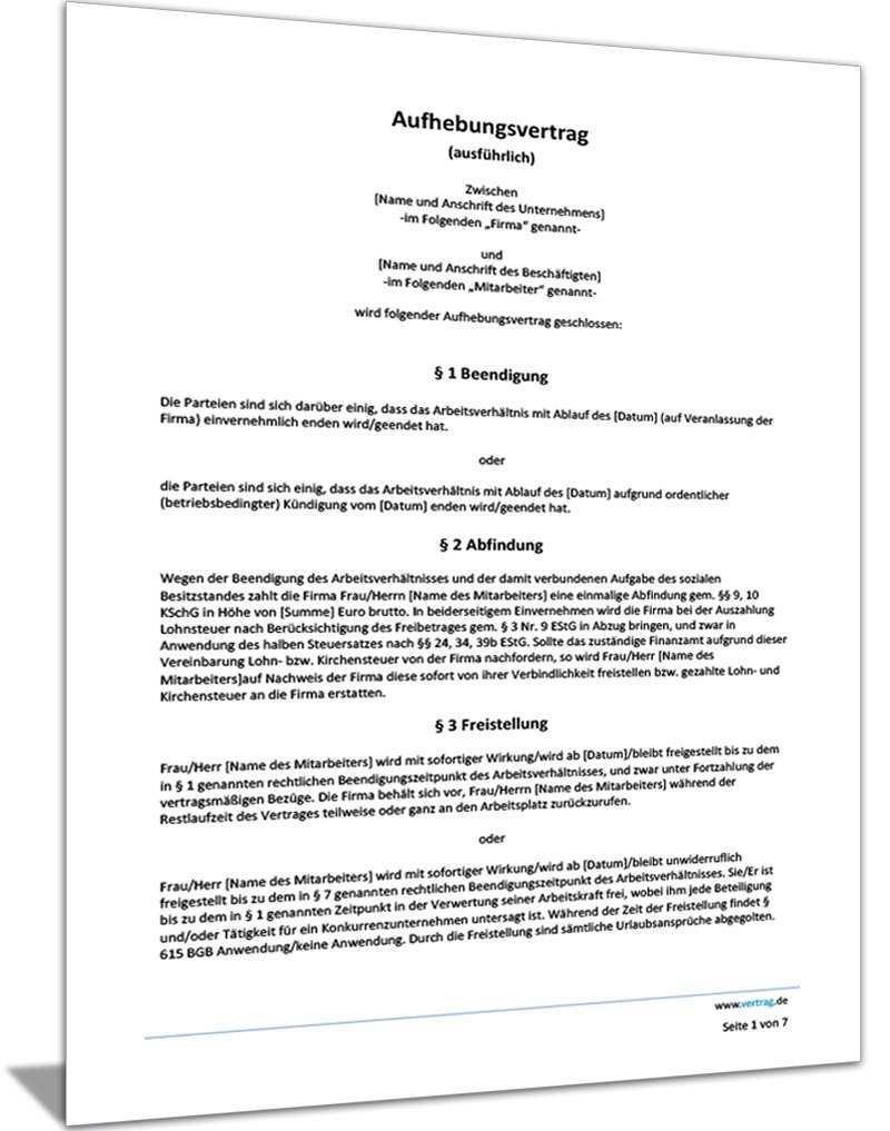 Auflosungsvertrag Vorlage Aufhebungsvertrag Muster