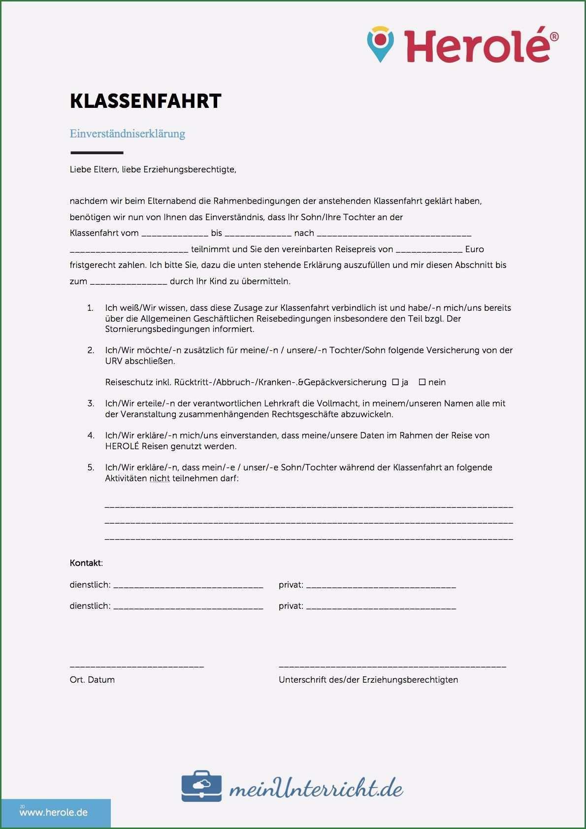 Beste Einverstandniserklarung Vorlage In 2020 Klassenfahrt Elternbriefe Geschaftsreise
