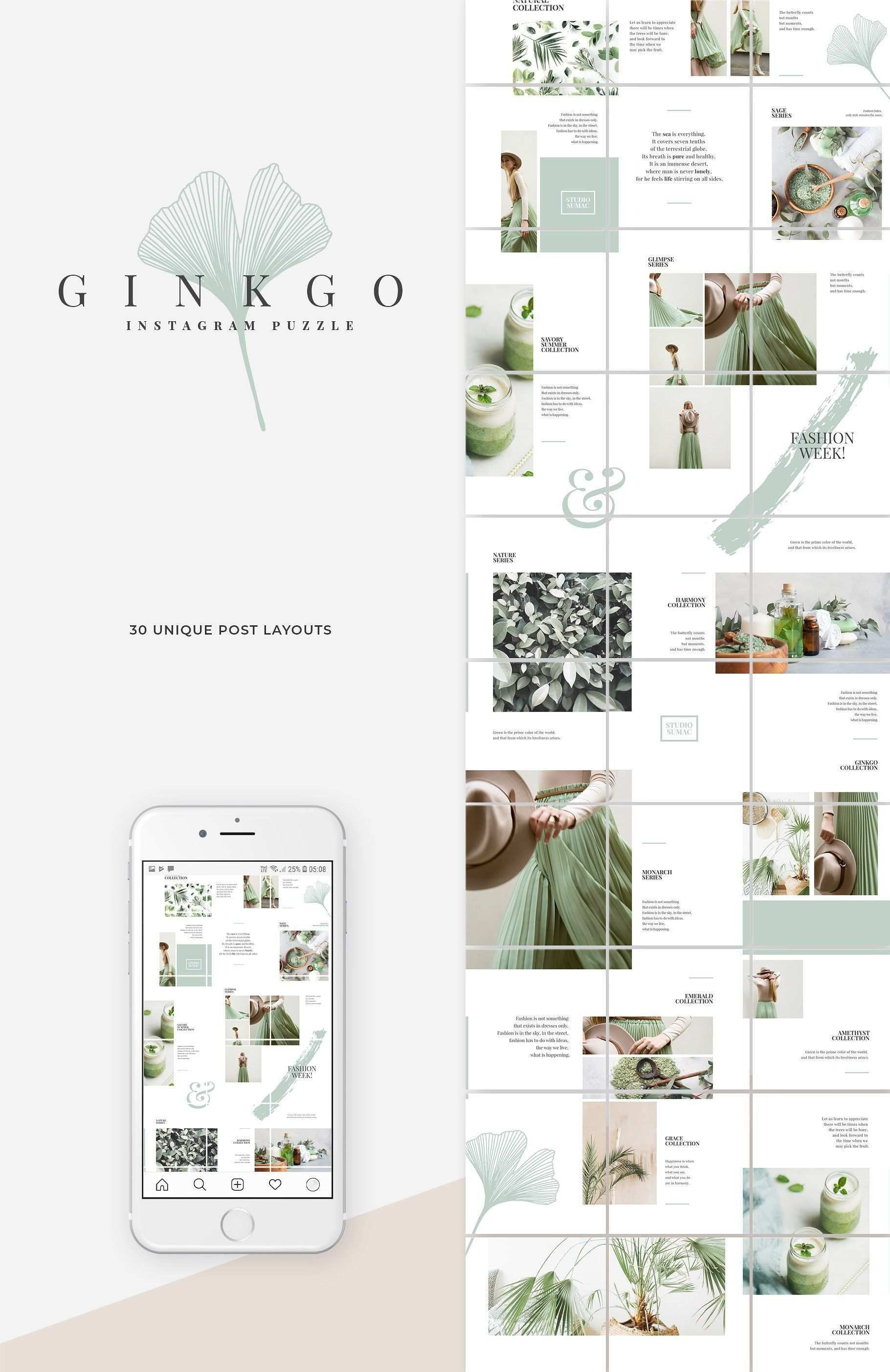 Ginkgo Instagram Puzzle Template Instagram Template Design Instagram Grid Design Instagram Feed Layout
