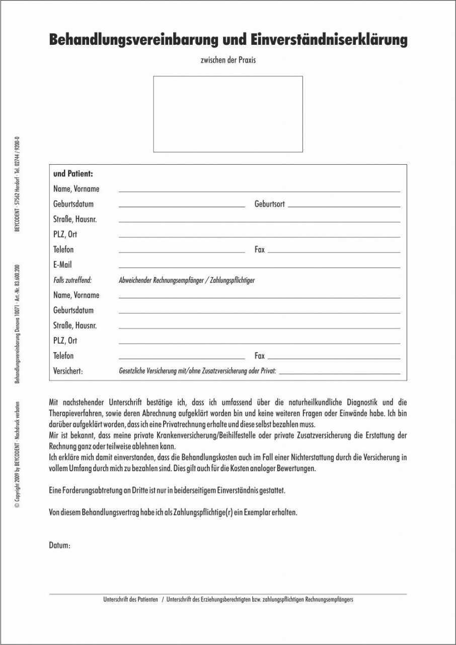 Behandlungsvereinbarung Und Einverstandniserklarung Fur Patienten Din A4 Formular Praxis Office