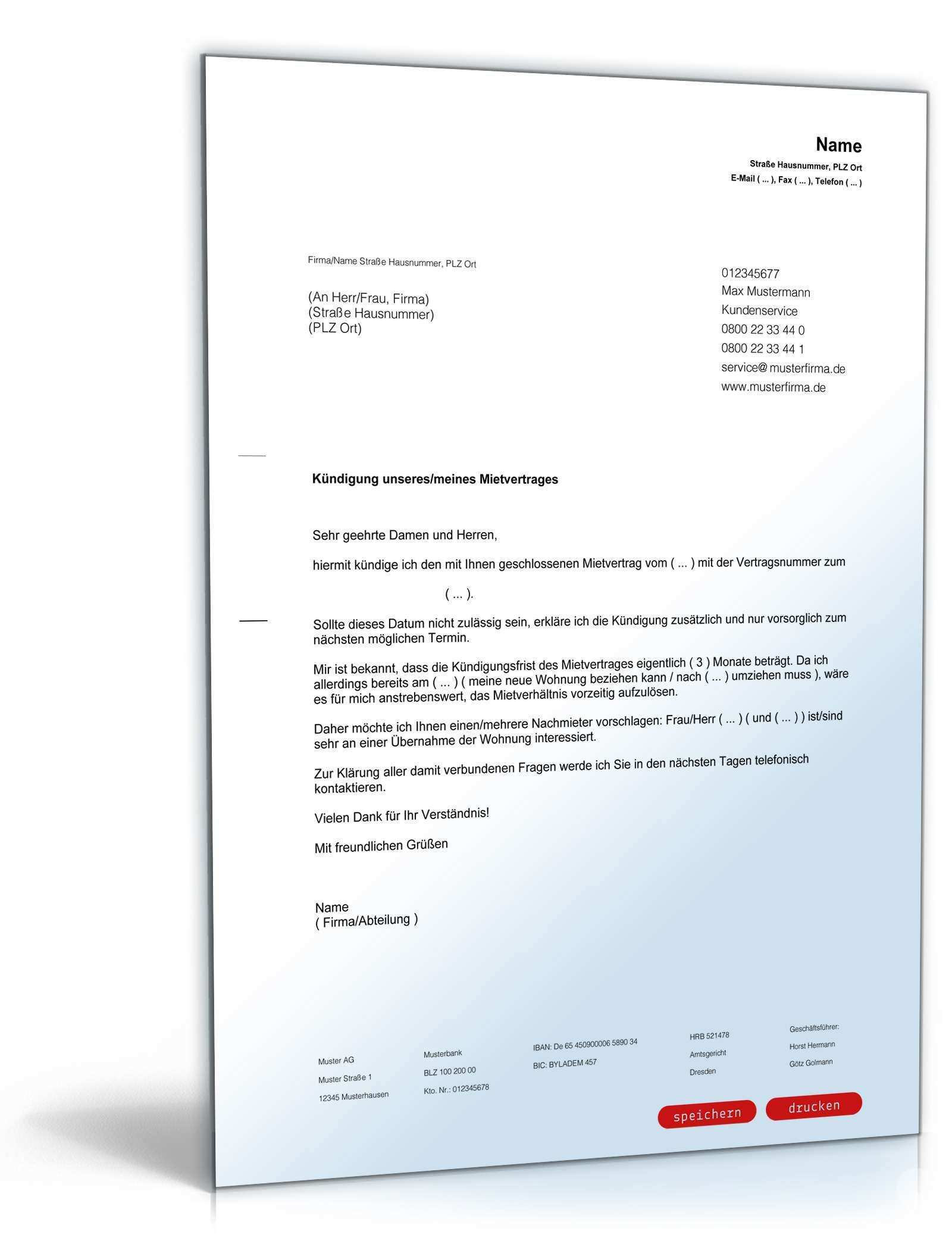 Kundigung Mietvertrag Mieter Vorlage