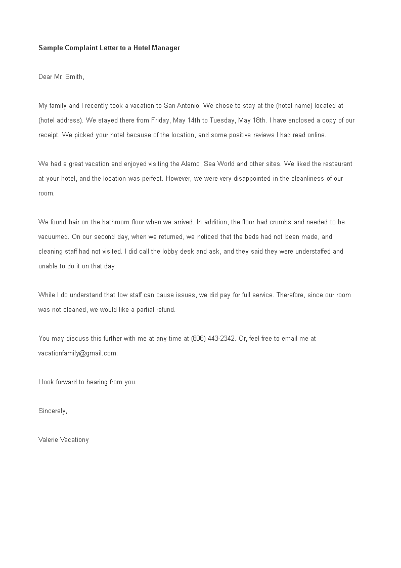 Sample Complaint Letter To Hotel Manager How To Write A Complaint Letter To Hotel Manager Download This Sample Complain Hotel Management Lettering Templates