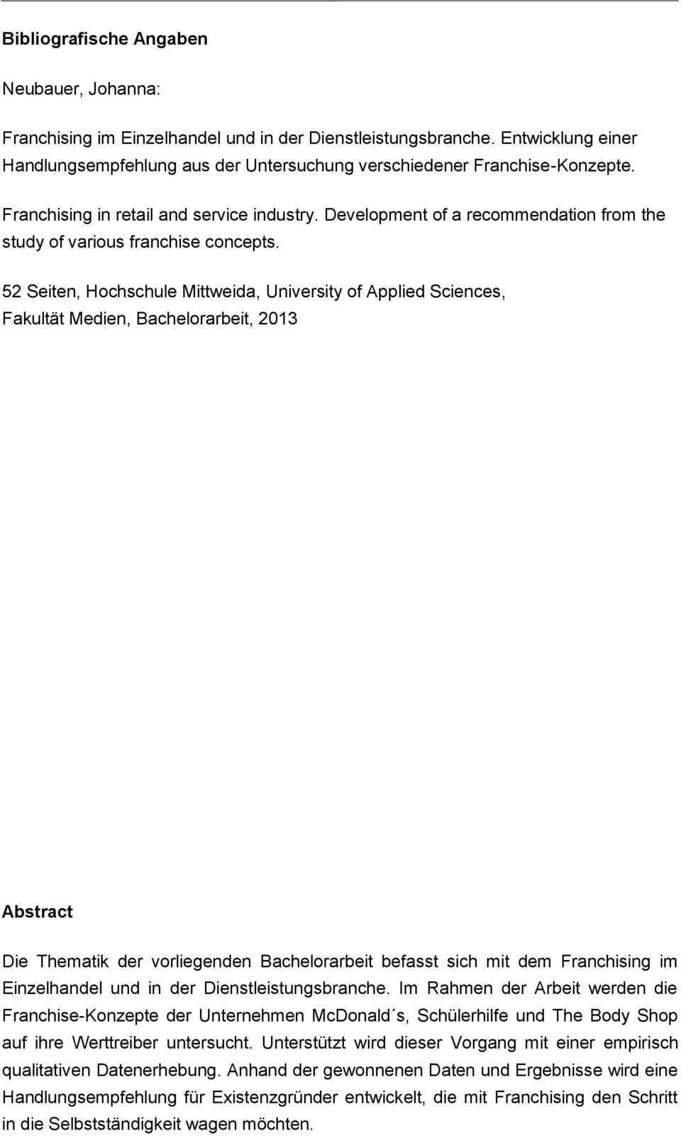 Bachelorarbeit Franchising Im Einzelhandel Und In Der Dienstleistungsbranche Pdf Free Download