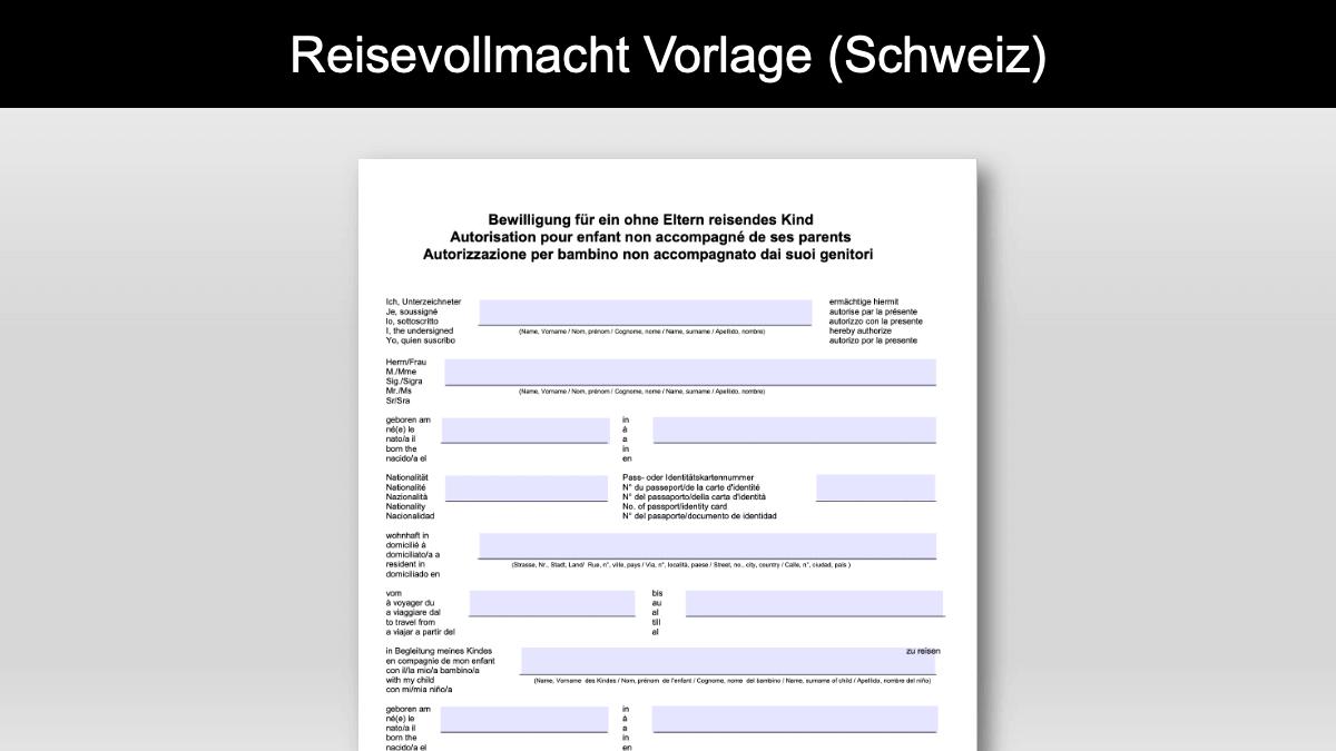 Reisevollmacht Schweiz Vorlage Im Pdf Format Gratis Download